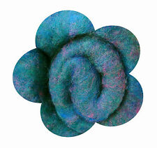 Needle or Wet Felting  Merino Carded Wool, Fleece, Teal, Pink and Blue Mix