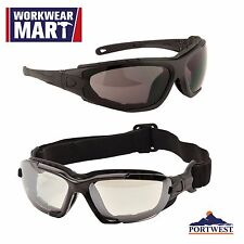 Safety Glasses Eye Protection Levo Clear Black ANSI Z87, Portwest PW11