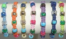 Handmade Cotton Cord Knotted Bracelet Surfer Closing Assorted Beads Macrame Art