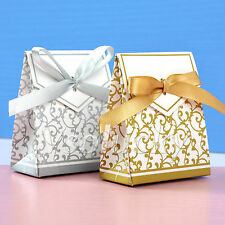1 - 200pcs Sliver Gold Bridal Wedding Party Favor Gift Ribbons Candy Boxes Bags