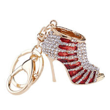 New Crystal Shoe High Heel Keyring Rhinestone Purse Charm Pendant Bag Key Chain