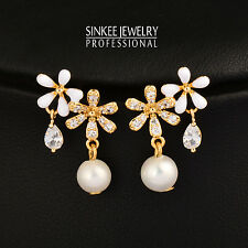 Small White/Black Flowers Genuine Crystal Pearl Drop Earrings No Allergy Earring