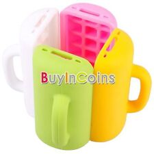 Cute 3D Mug Cup Design Silicone Skin Stand Soft Back Case Cover For iphone 4 4S