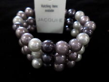 JACQUI E triple strand stretch pearl beaded bracelet - 3 colours NWT RRP $14.95