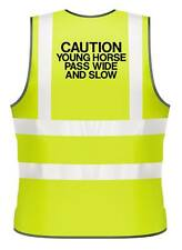 ADULTS HI-VIZ PRINTED CAUTION YOUNG HORSE PASS WIDE SAFETY WEAR HORSE RIDING