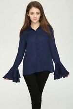 New Womens Navy/White Ruffled Long Sleeve Button Down Shirt Blouse Tops Size SML