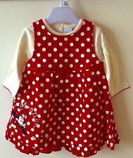 Disney Minnie Mouse Baby Girls Dress And Top Set Outfit Red Cream Gift Newborn