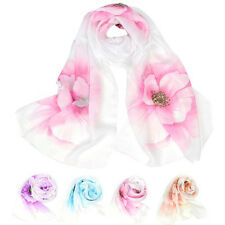 2016 New Women Flower Scarf Wrap Summer Shawl Chiffon Neck Circle Voile Scarves
