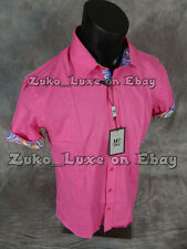 "Mens MIZUMI Short Sleeve Button Sport Shirt Fuchsia w/ Designer Trim ""Slim Fit"""