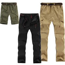 Men's Outdoor Hiking Hunting Fishing Quick-Dry Pants Zipper Off Trousers Shorts