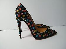 Christian Louboutin Fiorilili 120 Black Satin Pumps NEW Size 38