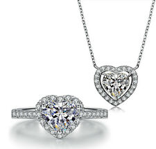 18k White Gold GP Austrian Crystal Heart pendant chain Necklace Ring Sets S111