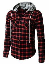 Doublju Mens Trendy Comfortable Hood Zip Up Checkered Big SZ Long Sleeve Shirt