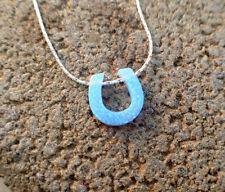 Lucky Horseshoe opal pendant necklace solid sterling silver protection charm