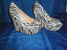 "WOMENS ""CASANDRA"" PEEP TOE, ZEBRA PRINT HIGH WEDGE HEEL WITH PLATFORM SHOES(NEW)"