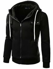 160D-BLACK-2 Doublju Mens Terry Zip-up Hood Slim fit Jacket- Choose SZ/Color.