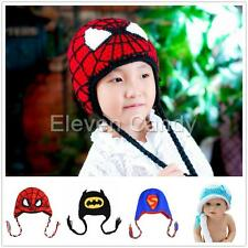 Toddler Baby Girl Boy Kid Superhero Beanie Hat Crochet knit Warm Cap Photo Prop
