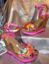 NWT-GIANNI BINI FLORAL FABRIC ANKLE STRAP WEDGES (Sz 6.5)