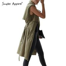 Simplee Suede Leather Sleeveless Long Trench Coat Autumn Sashes Vest Outwear