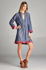 Cute Plus Size Pleated Chambray BoHo Gypsie Mini Dress Tunic 1X, 2X,