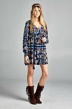 Cute Plus Size full Sleeves Baby Doll Floral BoHo Gypsie Mini Dress Tunic