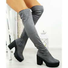 New Womens Knee High Boots Ladies High Heel Platform Winter Shoes Size Uk 3-8