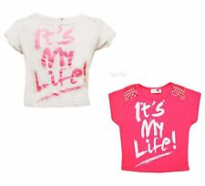 Girls it's My Life Crop Top Kids Foil Detail Short Sleeve Tops T-Shirt 7-13 Year