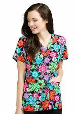 Med Couture Women's Anna Christmas Snowflake Print Scrub Top 9451-SWCT