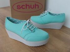 SCHUH DOTTY LIGHT GREEN CANVAS FABRIC LACE UP PLATFORM WEDGE CASUAL SHOE RRP £45