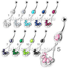 14G 10MM Fancy Flower Jeweled Dangling Navel Belly Ring Body Jewelry