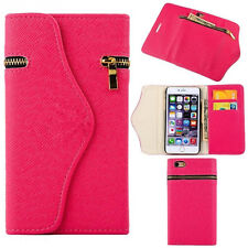 Hot Pink Leather Wristlet Clutch Case Wallet Cover + Zipper For iPhone 6/6s PLUS