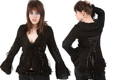 Poizen 4726 Gothic Jacket Black Polyester With Lace Ribbon Goth Emo Punk Ladies