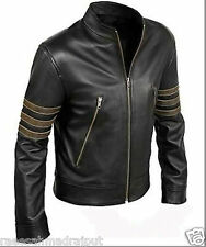 Cafe Racer Brown Stripes New Leather Jacket