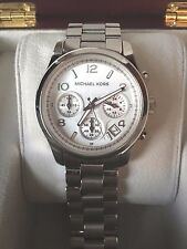 MICHAEL KORS CHRONOGRAPH SILVER / WHITE DIAL WATCH STAINLESS STEEL - NO RESERVE