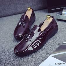 fashion Mens tassel leisure patent comfy boat slip on loafer glossy trendy shoes
