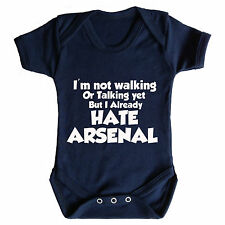 I HATE ARSENAL BABY GROW - FUNNY FOOTBALL THEME SPURS WEST HAM WATFORD DERBY