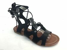 Womens Ladies Cut Out Roman Gladiator Sandals Flat Shoes Summer Beach Lace Up