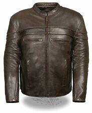 Mens Retro Brown Scooter Collar Leather Jacket, Reflective Piping, Gun Pockets