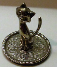 VINTAGE CUTE WHIMISCAL KITTY CAT SILVER PLATED RING JEWELRY HOLDER