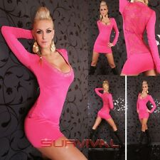 Womens Mini Knit Dress Top Hot Pink with Lace Sexy Party Club Wear Sz 6 8 10 12