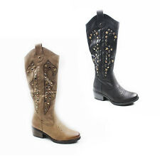 WOMENS LADIES COWBOY STYLE CUBAN HEEL MID HIGH CALF BOOTS SHOES SIZE 3-8