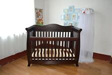 3 in1 Espresso Wooden sleigh Baby Cot crib Toddler Bed with Drawer