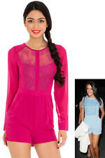 Goddiva Womens Long Sleeved Lace Front PlaySuit Cerise Pink Ladies Party Summer