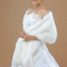 Ivory or white Winter Faux Fur Long Shawl Bridal Prom Party Wrap Cape Wedding