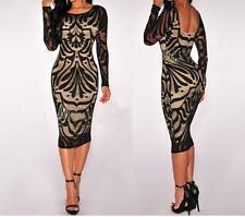 Women Sexy Bodycon Bandage Lace Pencil Evening Cocktail Party Dress Long Sleeve