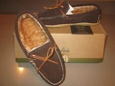 CABELAS Brown Suede Outdoor Moccasin Shoes Fleece-Lined Hand-Sewn Slippers NIB