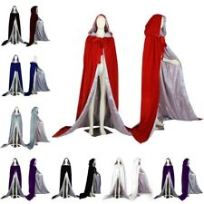 Silver Silk Medieval Wedding Cape Halloween Velvet Hood Cloak Wicca Stock S-6XL