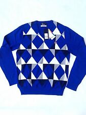 BNWT. FRED PERRY COTTON KNITTED JUMPER. BLUE. SIZES S  RRP£95 BNWT