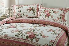 DaDa Bedding Bohemian Cottage Dusty Roses Floral Quilted Coverlet Bedspread Set