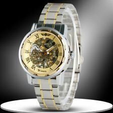 WINNER Hand-Winding Mechanical Skeleton Stainless Steel Men Women Wrist Watch